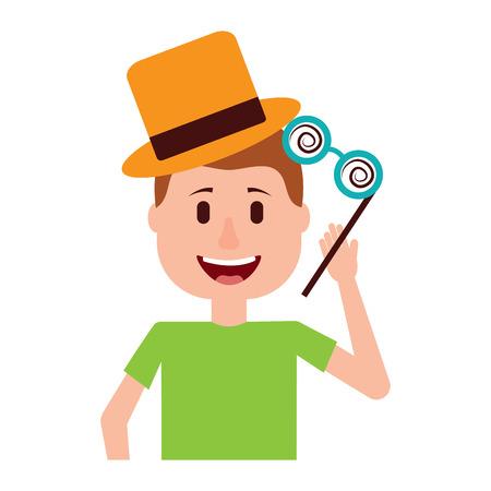 happy man hat and crazy glasses portrait vector illustration Фото со стока - 96671829