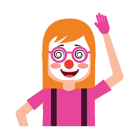 funny smile woman with clown mask silly glasses vector illustration