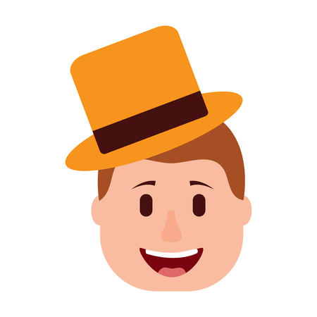 smiling face man with hat happy vector illustration 向量圖像