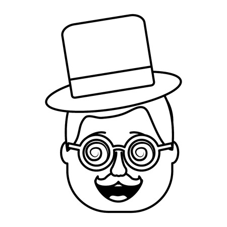 smiling face man with glasses and hat vector illustration