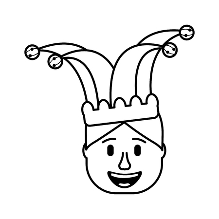 smiling face man with glasses and jester hat vector illustration 向量圖像