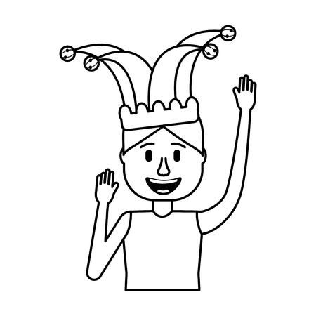 happy man jester hat and crazy glasses portrait vector illustration Иллюстрация