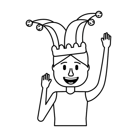 happy man jester hat and crazy glasses portrait vector illustration Illustration