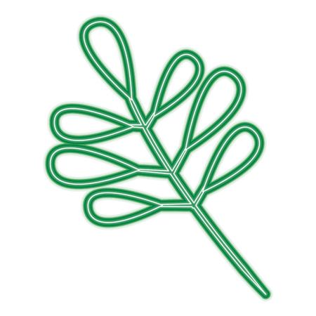 緑の葉と木の枝植物自然ベクターイラストネオンラインデザイン