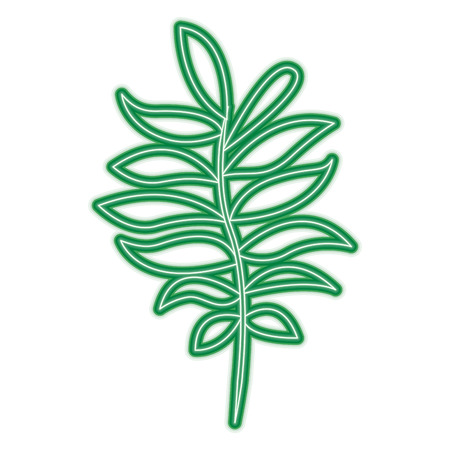 tree branch with green leaves plant natural vector illustration neon line design Illustration