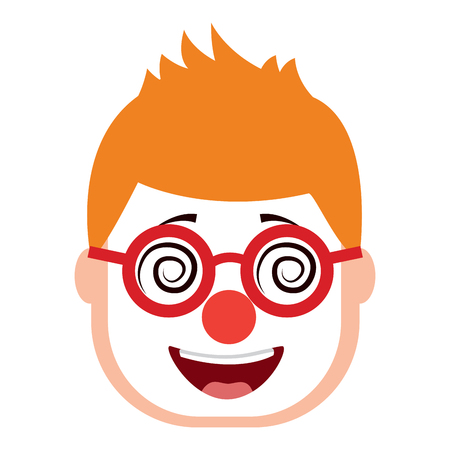 smiling face man with glasses and mask clown vector illustration
