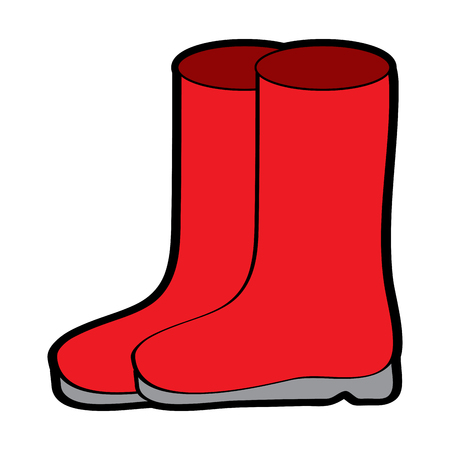pair rubber boots clothes season fashion vector illustration