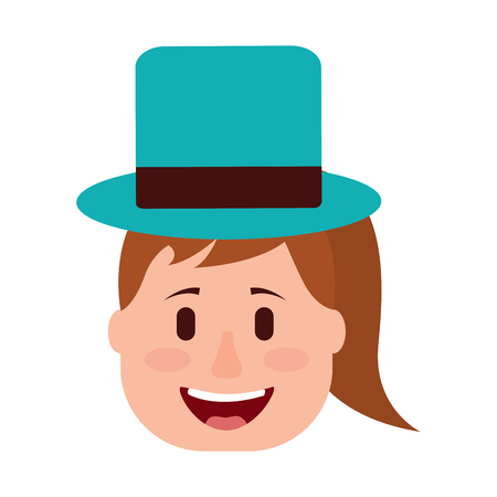 Laughing face woman with hat enjoy vector illustration