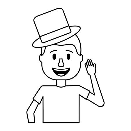 happy man hat and crazy glasses portrait vector illustration