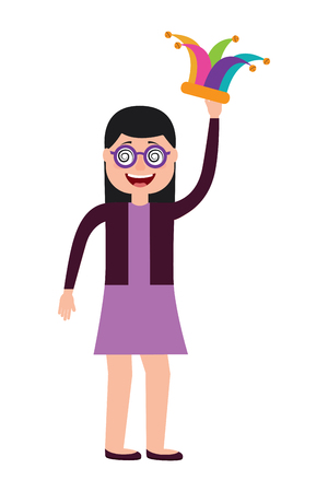 cheerful woman with glasses and jester hat vector illustration