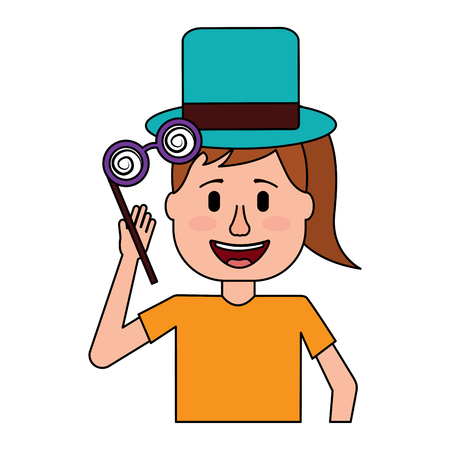 funny smile woman with silly glasses and hat vector illustration Vettoriali