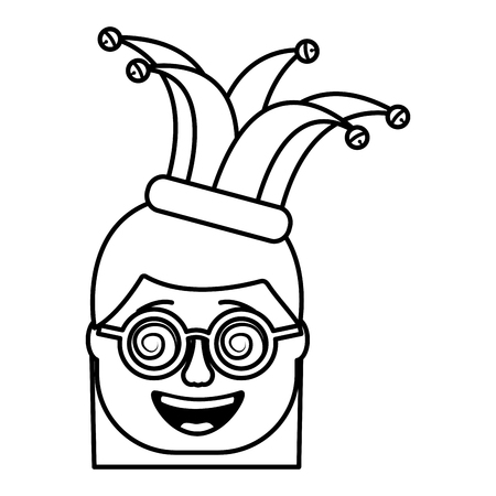 laughing face woman with crazy glasses and jester hat enjoy vector illustration