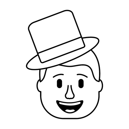 smiling face man with hat happy vector illustration Illustration