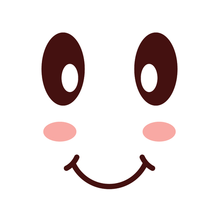 Kawaii happy expression cartoon smile vector illustration