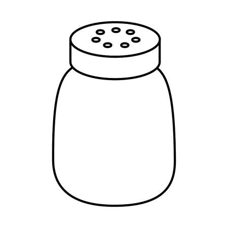 Salt shaker seasoning for cooking condiment vector illustration sticker design outline design