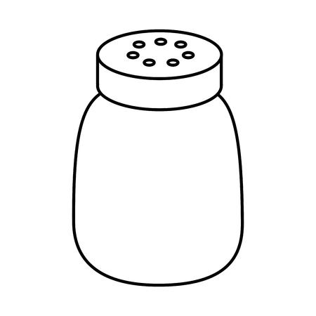 Salt shaker seasoning for cooking condiment vector illustration sticker design outline design