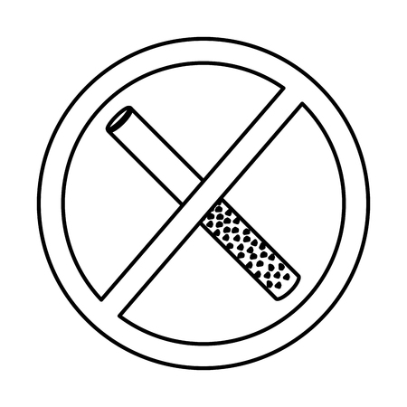 No smoking sign prohibition cigar vector illustration outline design Illustration