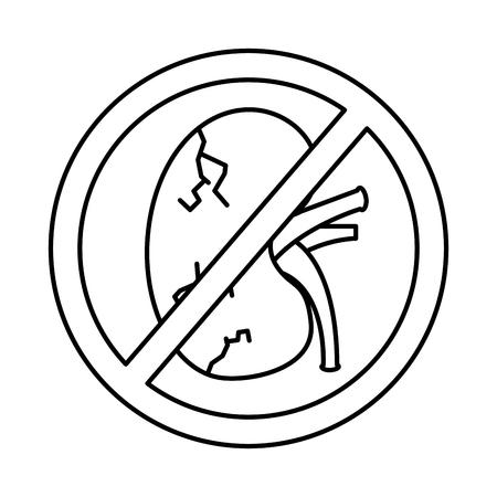 no human kidney disease medical diagram forbidden sign vector illustration  outline design