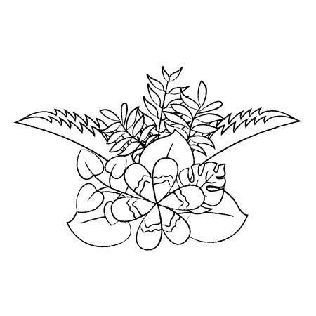 flower natural decoration arrangement leaves vector illustration sketch design Ilustração