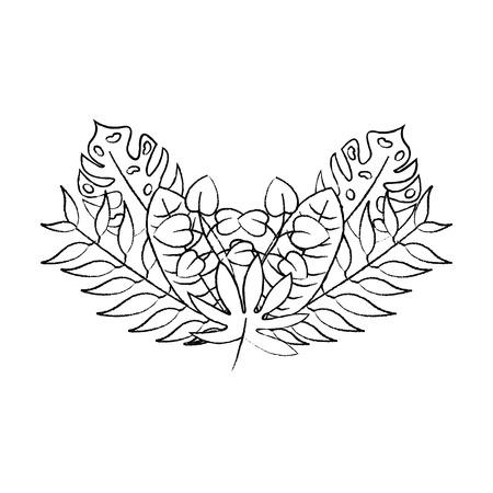 flower natural decoration arrangement leaves vector illustration sketch design Ilustrace