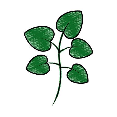緑の葉を持つ木の枝植物自然ベクトルイラスト描画設計  イラスト・ベクター素材