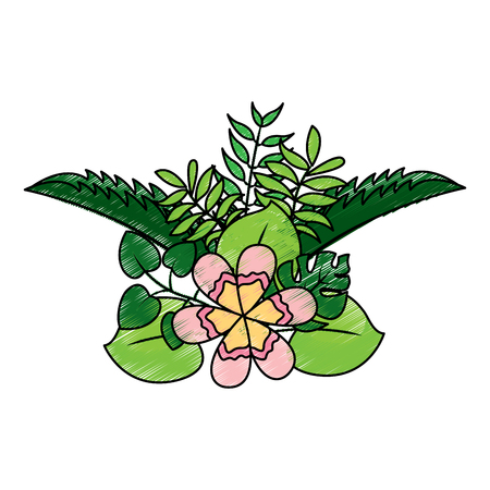 flower natural decoration arrangement leaves vector illustration drawing design