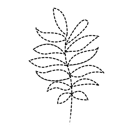 tree branch with green leaves plant natural vector illustration dotted line design