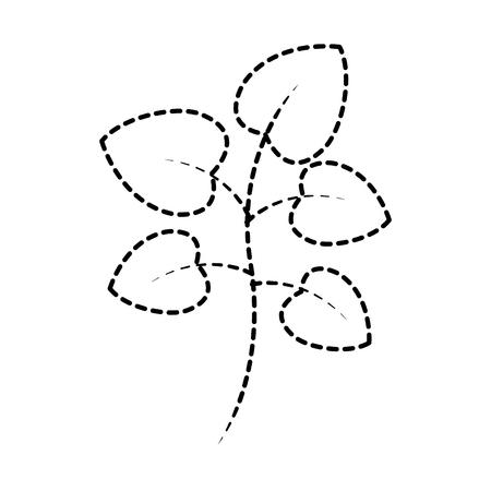 緑の葉と木の枝植物自然ベクトルイラスト点線のデザイン