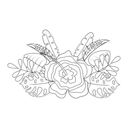 flower natural decoration arrangement leaves vector illustration dotted line design