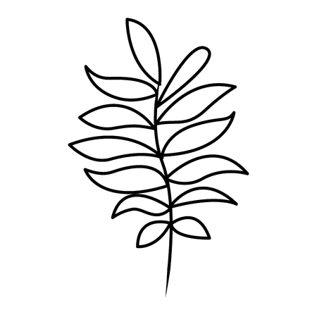 tree branch with green leaves plant natural vector illustration thin line image