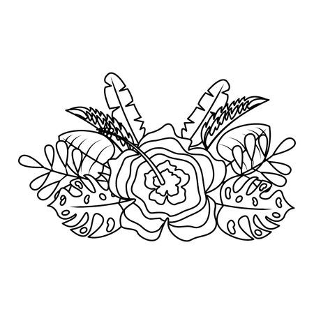 flower natural decoration arrangement leaves vector illustration thin line image