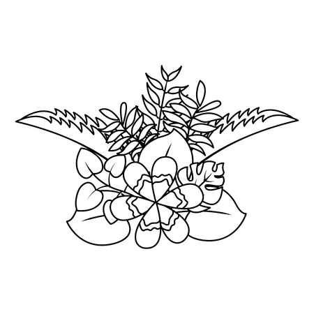 flower natural decoration arrangement leaves vector illustration thin line image