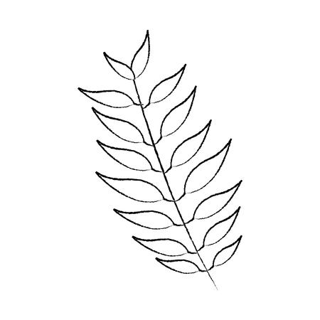 緑の葉を持つ木の枝植物自然ベクトルイラストスケッチ画像