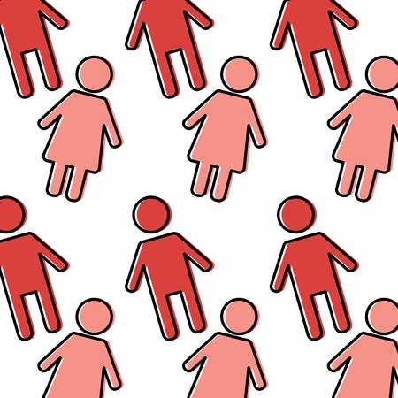 シームレスなパターン女性と男のキャラクターベクトルイラスト