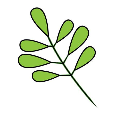 緑の葉植物の自然ベクターイラストと木の枝  イラスト・ベクター素材