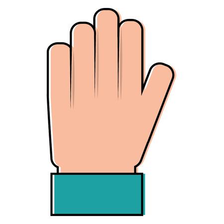 hand palm showing five finger stop vector illustration