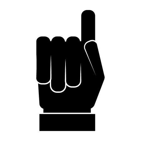 hand gesture with a raised index finger vector illustration black and white design