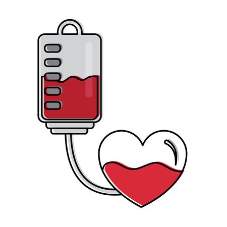 blood bag heart medicine hemophilia treatment vector illustration Illustration