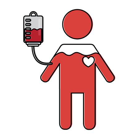 man pictogram full blood bag and heart vector illustration Illustration