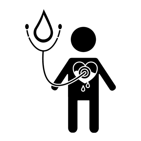 man stethoscope heart blood medical hemophilia vector illustration black and white design