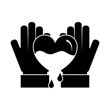 hands holding blood heart support hemophilia awareness vector illustration black and white design