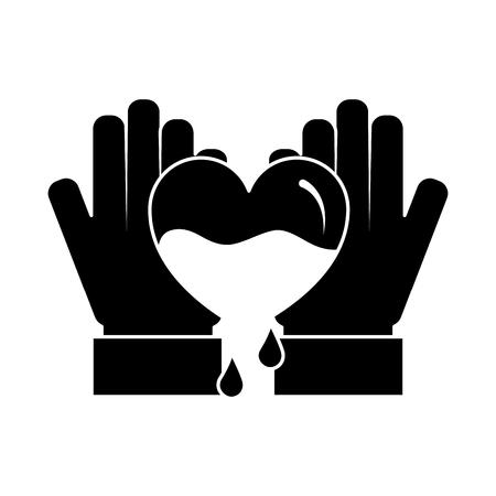 hands holding blood heart support hemophilia awareness vector illustration black and white design
