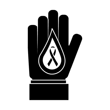 hand with drop blood and ribbon medical vector illustration black and white design