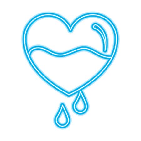 心臓血滴落下予防ケアベクトルイラストネオンブルーデザイン
