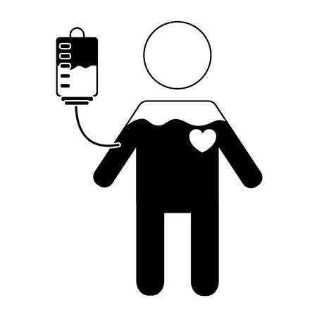 man pictogram full blood bag and heart vector illustration black and white design