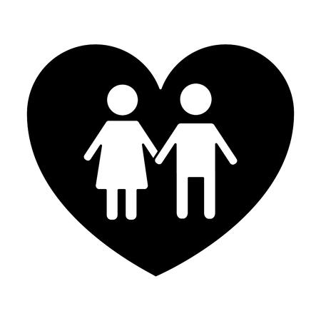 couple holds hand inside heart medical concept vector illustration black and white design Illustration
