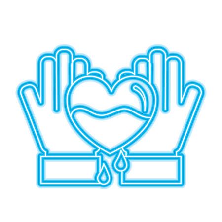 hands holding blood heart support hemophilia awareness vector illustration neon blue design Illustration