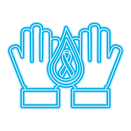 hands with drop blood and ribbon hemophilia care vector illustration neon blue design Illustration