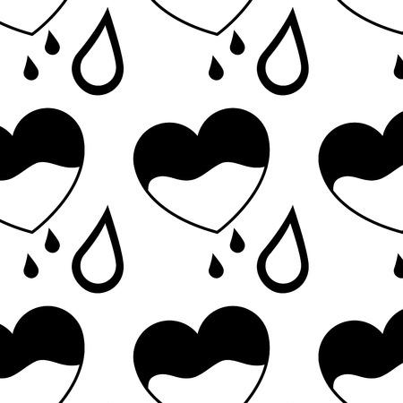 seamless pattern heart blood drops healthcare vector illustration Illustration