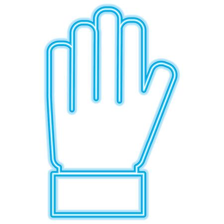 hand palm showing five finger stop vector illustration neon blue design Illustration
